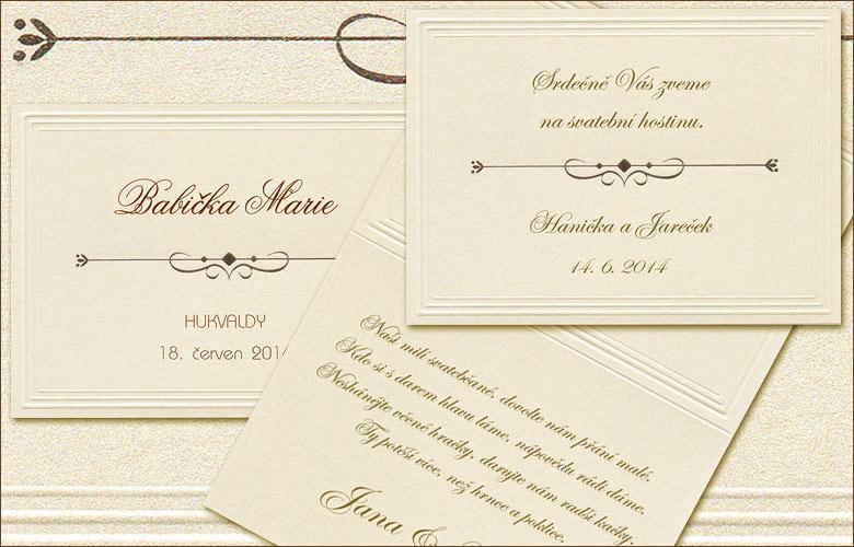 Pozvánka ke svatebnímu stolu T-12