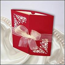 Červené svatební oznámení vzor 022_51_03 s mašlí