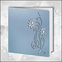 Modré svatební oznámení vzor 058_30_02 s kopretinami