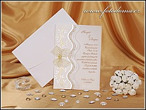 Luxusní dvoudílné svatební oznámení s mašličkou vzor 0839