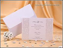Svatební oznámení ve formě jednodílné karty s ozdobnými pruhy po stranách vzor 0865