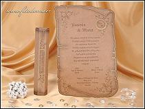 Svatební oznámení ve tvaru starobylé listiny s roztřepenými okraji vzor 0878
