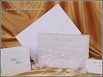 Svatební oznámení s peříčkem a s luxusní svatební obálkou vzor 0882