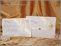Svatební oznámení s výpravným zlatým zdobením vzor 0886