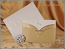 Svatební oznámení se zlatou kapsou vzor 0887