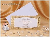 Svatební oznámení ve formě zdobené karty se zlatým rámečkem vzor 0891