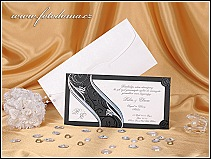 Svatební oznámení s černou podkladovou kartou vzor 0895