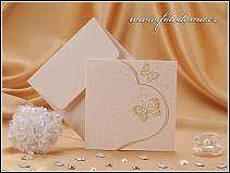 Rozkládací dvoudílné svatební oznámení s motýlky vzor 0898