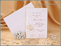 Svatební oznámení se zlatými srdíčky vzor 0901