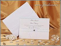 Svatební oznámení s mašlí a čirým krystalem vzor 0903