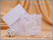 Svatební oznámení se stříbrným motýlkem a květinovými motivy vzor 0915