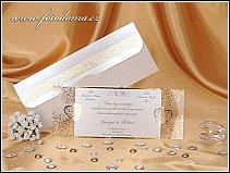 Originální svatební oznámení s průhlednou fólií se zlatou ražbou vzor 0923