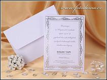 Svatební oznámení ve formě karty se stříbrně raženým rámečkem vzor 0927