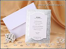 Na výšku orientované svatební oznámení s výpravným stříbrným orámováním vzor 0929