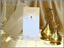 Vysouvací svatební oznámení se zlatě raženými rostlinnými ornamenty vzor 0945