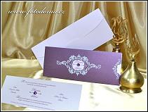 Vysouvací svatební oznámení v odstínech fialové vzor 0951