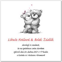 Svatební oznámení s medvídky 1001.