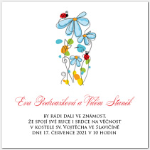 Svatební oznámení s květinami a beruškami 1003.
