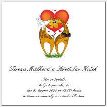 Svatební oznámení s žirafami 1004.