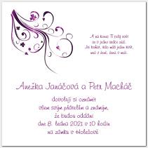 Svatební oznámení s fialovými ornamenty 1006.