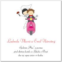 Svatební oznámení s motorkou 1009.
