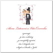 Svatební oznámení s novomanželi na houpačce 1012.