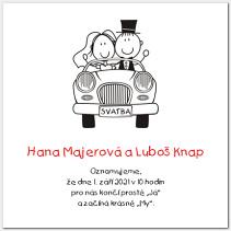 Svatební oznámení s autem 1016.