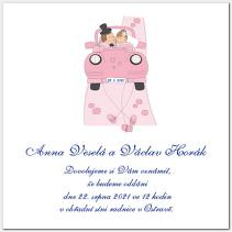 Svatební oznámení růžové auto s novomanželi 1019.