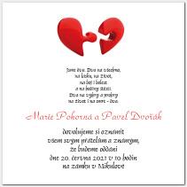 Svatební oznámení s puzzle srdcem 1025.