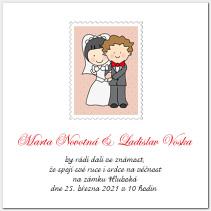 Svatební oznámení s poštovní známkou 1027.