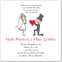 Svatební oznámení s postavičkami novomanželů 1028.