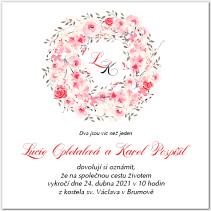 Svatební oznámení s věncem růžových růží 1029