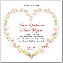 Svatební oznámení s jemným florálním srdcem 1030