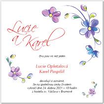 Svatební oznámení s květinami 1031