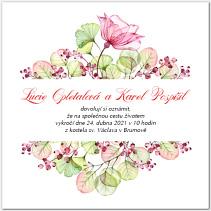 Svatební oznámení s květinovým motivem 1032