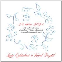 Svatební oznámení s modrým věnečkem 1033