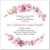 Svatební oznámení zdobené květinami 1034