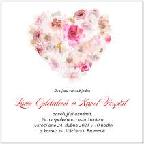 Svatební oznámení s velkým srdcem z květin 1035