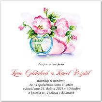 Svatební oznámení s růží ve vázičce 1036