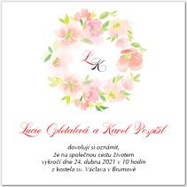 Svatební oznámení s věnečkem květů 1037