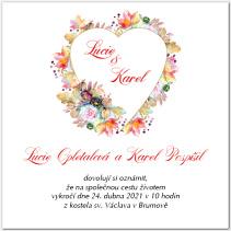 Svatební oznámení se zdobeným srdcem 1038