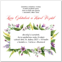 Svatební oznámení s květinovým rámečkem 1039