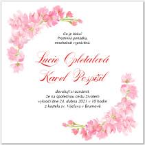 Svatební oznámení s růžovými květy 1041