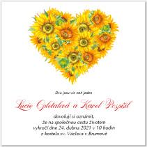 Svatební oznámení se srdcem ze slunečnic 1042