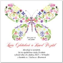 Svatební oznámení s květinovým motýlem 1043