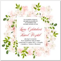 Svatební oznámení s květy stromů 1044
