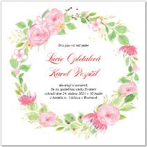 Svatební oznámení s květinovým věncem 1046