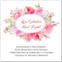 Svatební oznámení s květinami 1048