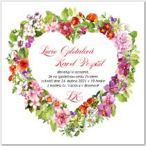 Svatební oznámení se srdcem z jarních květů 1049