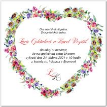 Svatební oznámení s květinovým srdcem 1050